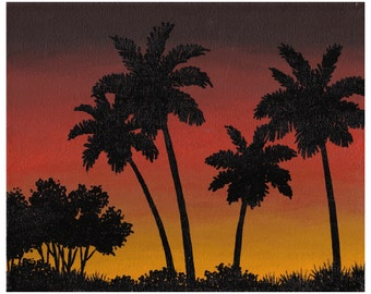 Yellow And Brown Sunset with 4 Palms