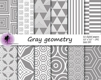 Gray geometry paper, paper with circles, triangles, squares, stripes, hexagons, rhombus,  Aztec Scrapbooking Papers, commercial use