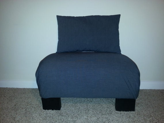 comfy ottoman with matching accent pillow by nobletimber on etsy. Black Bedroom Furniture Sets. Home Design Ideas