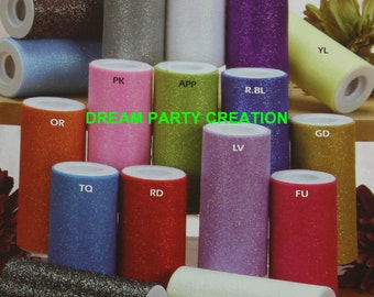 "6"" GLITTER Sparkle Quality TULLE Roll 25 YARDS Choose From 16 Colors"