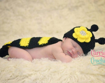 Crochet Newborn Bumble Bee Set