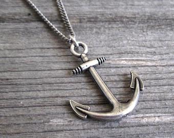 Men's Necklace - Men Anchor Necklace - Men Silver Necklace - Men's Jewelry - Men Jewelry - Men Necklace - Sailor Necklace - Sailor Gift