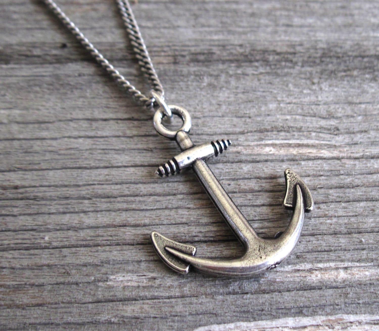 men 39 s necklace men anchor necklace men silver by galismens. Black Bedroom Furniture Sets. Home Design Ideas