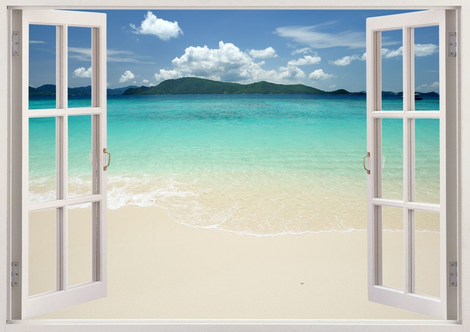 Beautiful beach wall decal mural 3d window beach wall sticker for Beach window mural