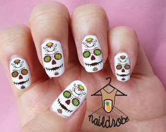 30 Day of the Dead Skull Face Halloween Nail Decals  (Waterslide Nail Decal)