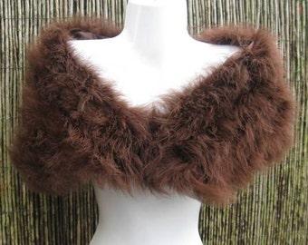 Chocolate Brown Coloured Marabou Feather Shrug / Stole / Shrug - One Size