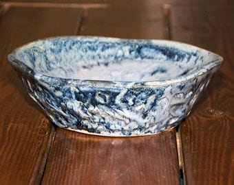 Blue Serving Bowl with Etchings