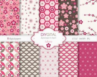 "Sakura (cherry blossom) Digital Paper Set - 10 Printable digital papers for scrapbooking, invites, cards - 12""x12""  300dpi- Instant Download"