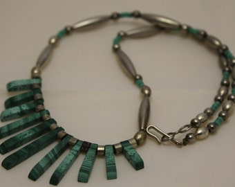 Vintage Silver and Raw Cut Malachite Bib Necklace