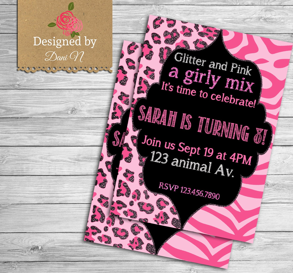 Pink Zebra Print Girls 1st Birthday Invitation: Animal Print Birthday Invitation / Girly Party Invite / Pink