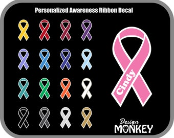 Personalized Awareness Ribbon Decal