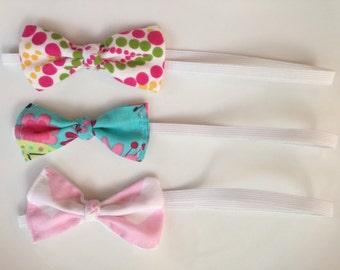 Fabric Bow Headband, Baby Headband, Newborn Headband