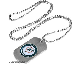 Miami Dolphins Dog Tag Beaded Necklace