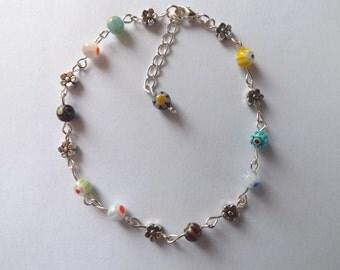 Millifiore Flower Beads Flower Anklet Anklet Bracelet