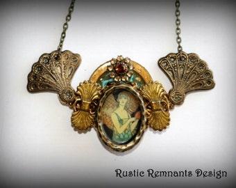 OOAK Art Deco Collage Necklace