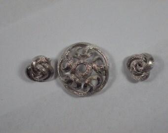 Crown Trifari Pin and Earrings Silver Tone