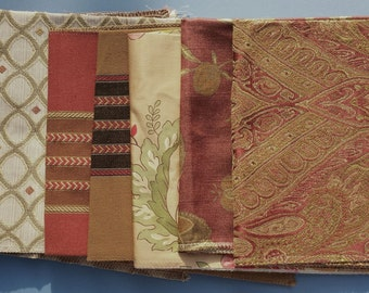 Set of Seven- 17in x 17in Upholstery fabric Squares- C7