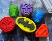 6 x Superhero Parody Soaps - superhero, Iron Man, Transformer, Spiderman, Superman Collection - Parody Soaps