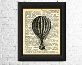 Dictionary Page Art Instant Download - Hot Air Balloon Print, Vintage Balloon Digital Image, Printable Art, Hot Air Balloon Digital Image