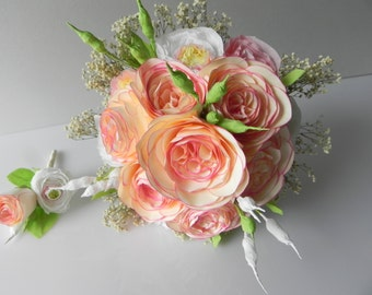 Rose and Lily Paper Wedding Bouquet with matching boutonniere