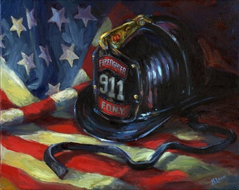 COURAGE 911  personalized canvas print honoring your firefighter hero