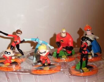 Disney's THE INCREDIBLES Christmas Ornaments Set of 7