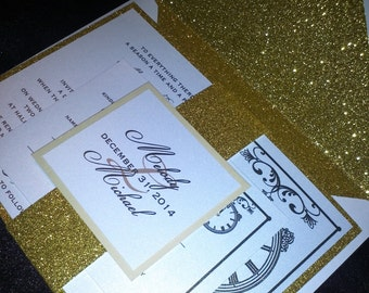 Clock Styled-Gold Glitter Invitation Suite w/ Monogrammed Bellyband and Matching Envelope
