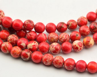 "15.5"" Red Sea Sediment Jasper Round Beads"