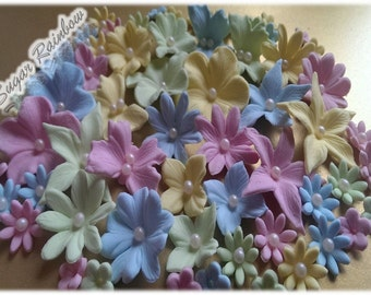 56 Edible sugar flowers butterflies for cake cupcake toppers