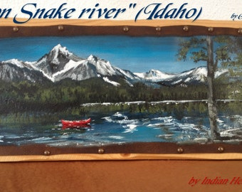 "Painting on leather ""On Snake river"" (Idaho)"""