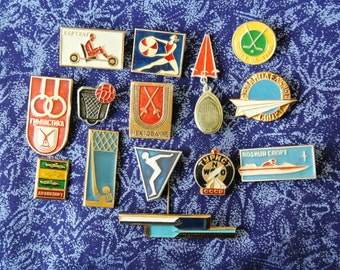 Set of 14 Vintage soviet badges pins-  Variety of Sports