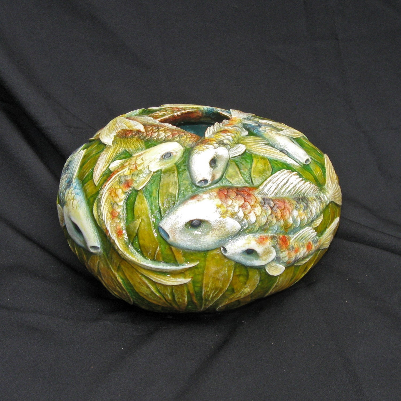 Carved gourd koi fish bowl for Koi fish bowl