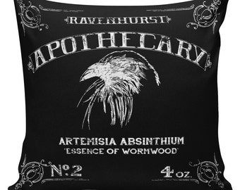 Cushion Pillow Halloween Raven Apothecary Cotton and Burlap #RQ0083 RavenQuoth All Hallow's Eve Home Decor