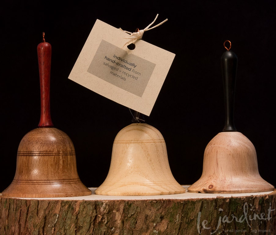 Hand-turned Wooden Bell Holiday Ornament