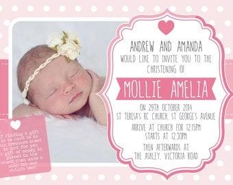 Digital Girls pink polka dots baptism christening invitation