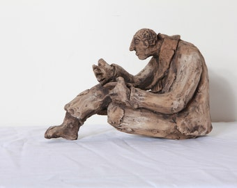 Beggar Man sculpture- (Handmade clay) One of a kind.