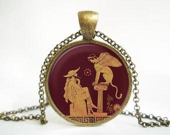 Sphinx Greek Myth Pendant (Antique.bronze./.Silver.tone)