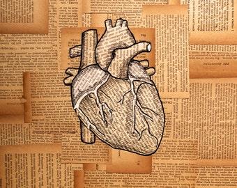 Original Medical Illustration using antique books - Uniting the Gap - The Heart - Print