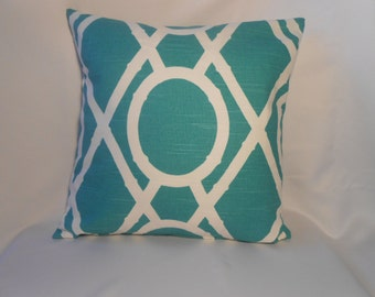 16 x 16 TurquoiseWhite Geometric Print Pillow Cover
