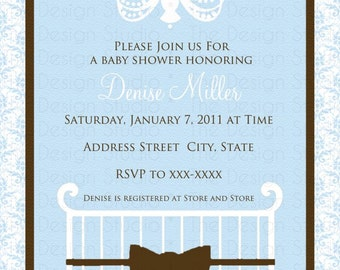 Crib Chandelier Blue Brown White Damask Baby Shower Invitation