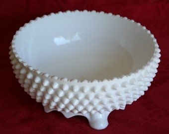 1980's Fenton Hobnail Milk Glass 3-footed Bowl