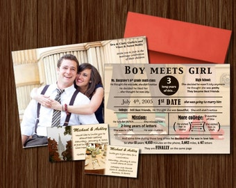 Love Story and Wedding Invitation, Classic with Photos, Customized