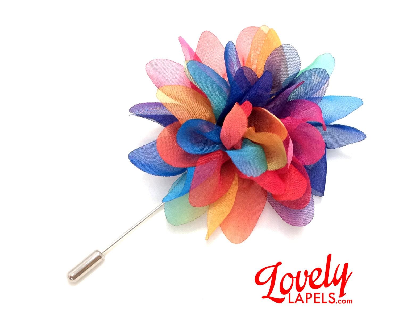 Men s Flower Lapel Pin Handmade Wedding Boutonniere Silk