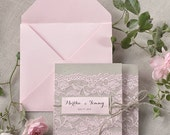 Custom listing (100 ) Rustic Lace Invitations, Pink Lace  Wedding Invitation, Pocket Fold Wedding Invitations , Pink  Wedding invitation