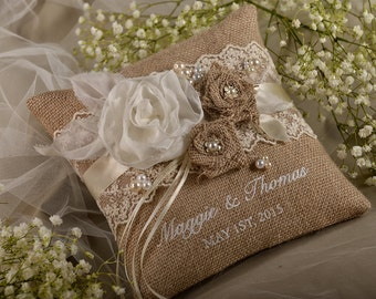 Lace Rustic Wedding Pillow, Burlap Ring Bearer Pillow, Burlap Ring Pillow, Embroidery Names, shabby chick,