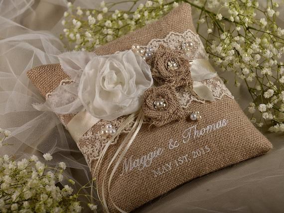 mariage oreiller, oreiller de bague de toile de jute, jute anneau ...