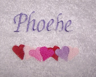 Personalised embroidered row of Hearts  bath towel (100% cotton)