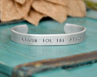 Reach For the Stars hand stamped cuff bracelet