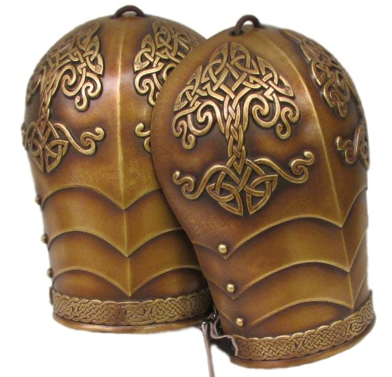 Larp Armor Celtic Tree Yggdrasil shoulders, Pauldrons, spaulders, spalders, spaudlers