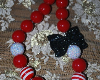 Red bubble gum necklace, Red chick buble gum necklace, Red Elegance bubble gum necklace